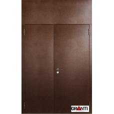 Дверь двустворчатая с фрамугой №25 - коричневая