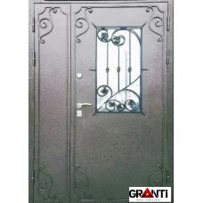 Входная металлическая Дверь двухстворчатая с элементами ковки и стеклопакетом №8