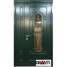 Входная металлическая Дверь двустворчатая №7 - зеленая с окном и ковкой