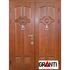 Входная металлическая Дверь двустворчатая №7.1 - под дерево с мдф