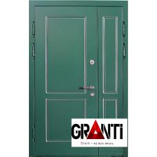 Входная металлическая Дверь МДФ  №2 зеленого цвета