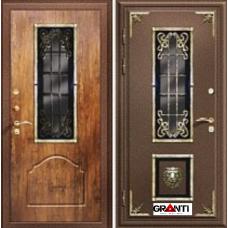 Дверь с порошковым напылением окном и ковкой №12