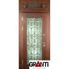 Нестандартная Входная металлическая Дверь Массив дерева №32 с большим окном и ковкой + фрамуга