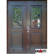 Входная металлическая Дверь Массив дерева двухстворчатая №1 с окном и ковкой
