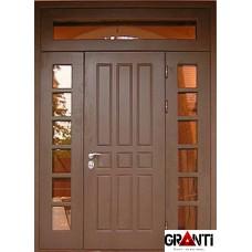 Входная металлическая Дверь Массив двухстворчатая №9 с окнами и фрамугой