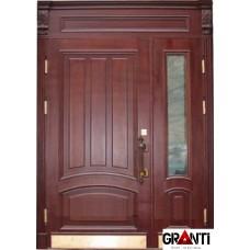 Входная металлическая Дверь Массив двухстворчатая №2 с оконной вставкой