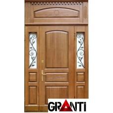 Входная металлическая Дверь Массив двухстворчатая №37 с оконными вставками по бокам