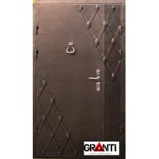 Дверь двустворчатая №18-1 и ковкой