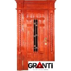 Нестандартная Входная металлическая Дверь Массив дерева №19 премиум класса с кованной решеткой