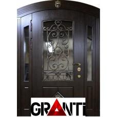 Дорогая Входная металлическая Дверь Массив двухстворчатая №8 - премиум класса с окнами и ковкой