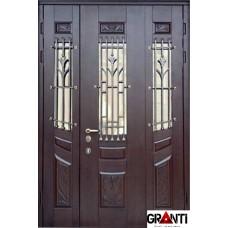 Входная металлическая Дверь Массив двухстворчатая №7 с окнами и ковкой