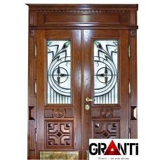 Элитная Входная металлическая Дверь Массив дерева двухстворчатая №6 с окнами и кованными элементами