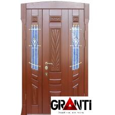 Входная металлическая Дверь Массив двухстворчатая №3 с оконными вставками по бокам