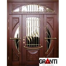 Элитная входная металлическая дверь Массив двухстворчатая №4 с окнами и кованными элементами