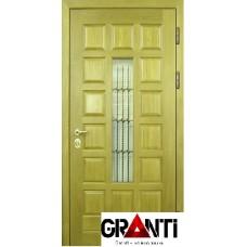 Входная металлическая Дверь Массив дерева №20 со стеклом и кованной решеткой