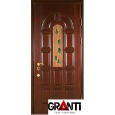 Входная металлическая Дверь Массив дерева №17 с витражными стеклами