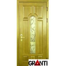 Входная металлическая Дверь Массив дерева №24 зеленого цвета со стеклом и кованной решеткой