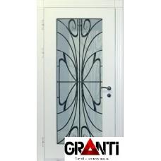 Нестандартная Входная металлическая Дверь Массив дерева №26 с большим стеклом и кованной решеткой внутри