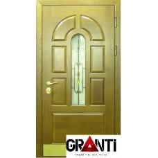 Входная металлическая Дверь Массив дерева №25 зеленая со стеклопакетом и ковкой