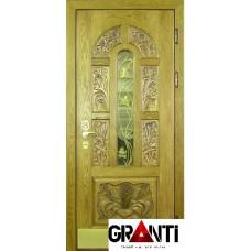 Красивая Входная металлическая Дверь Массив дерева №28 зеленого цвета со стеклом и кованной решеткой