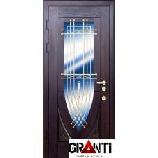 Входная металлическая Дверь Массив дерева №11 с окном и кованной решеткой