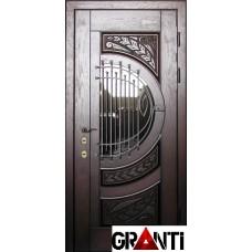 Красивая Входная металлическая Дверь Массив дерева №43 темного цвета с окном и решеткой