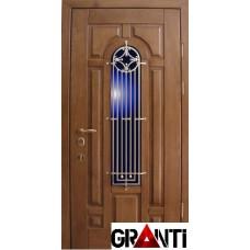 Входная металлическая Дверь Массив дерева №30 с решеткой и окном