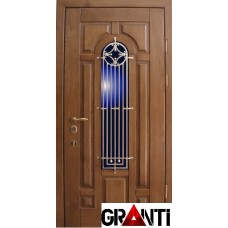 Входная металлическая Дверь Массив дерева №44 с коном и антивандальной решеткой