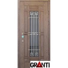 Входная металлическая Дверь Массив дерева №39 с коном и решеткой снаружи