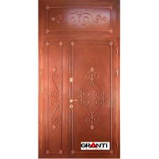 Дверь с порошковым напылением ковкой и фрамугой №7