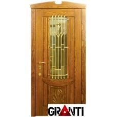 Нестандартная Входная металлическая Дверь Массив дерева №40 с окном и кованной решеткой снаружи