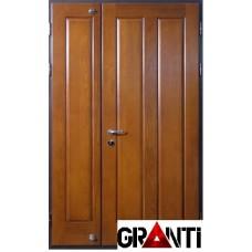 Входная металлическая Дверь Массив двухстворчатая №48 - коричневая