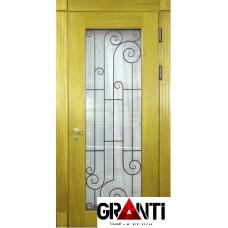 Нестандартная Входная металлическая Дверь Массив дерева №31 с большим окном и кованной решеткой